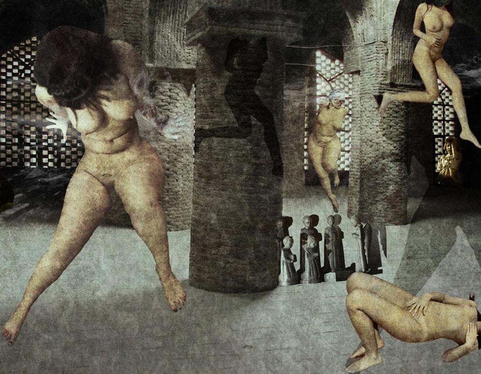 """""""Nightmare"""", from the Cosmos2-Series, 2010, 175 x 130 cm - Digital Painting Seine kurzen lyrischen Texte und einen Teil seiner Zeichnungen veröffentlichte der Künstler 2003 in einem Buch mit dem Titel """"Fürsprecher der Sünde""""."""