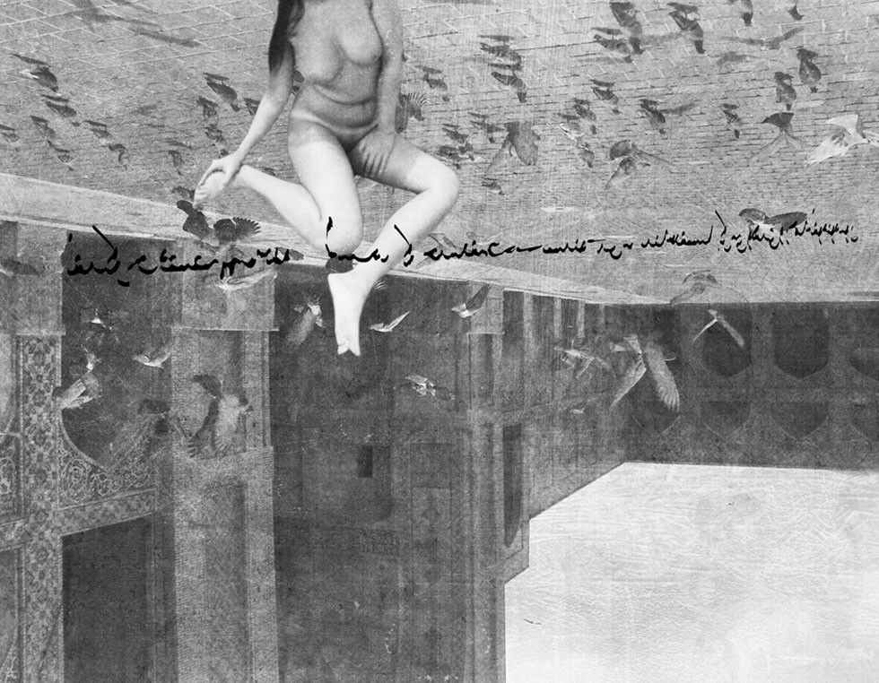 """Pond, from the Cosmos1-Series - 2010 - 174 x 130 cm - Digital Painting Shervin Pashaies kurze, lyrische Texte und einen Teil seiner Zeichnungen veröffentlichte der Künstler 2003 in einem Buch mit dem Titel """"Fürsprecher der Sünde""""."""