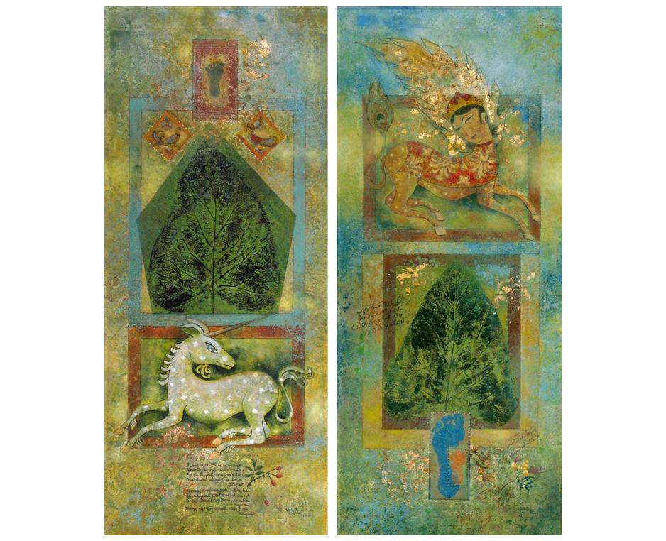 """… Gedichte, Kaligrafien, Symbole, Formen, Zeichen, alte Dokumente und Miniaturen, vermengen sich im surrealen Erleben einer niemals endenden Reise."""" (G. V. Sinai)"""