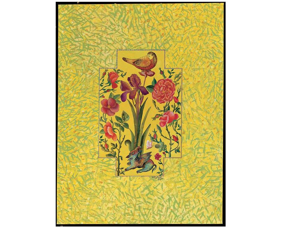 """Von 2009 bis jetzt bearbeitete Gizella Varga Sinai das Thema """"Blumengarten mit Vögeln"""". Sie nutzt dieses traditionelle Thema als Metapher für ihre Malserie."""