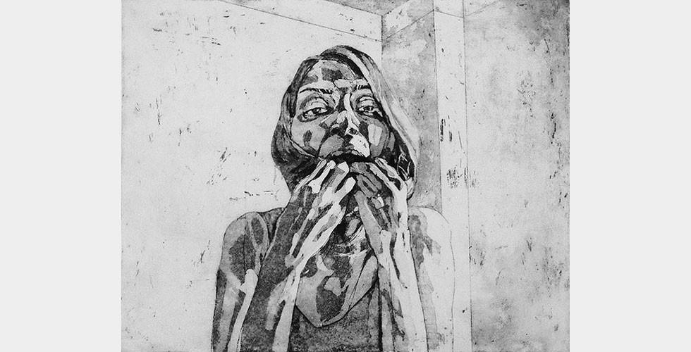 """""""Trichophagie"""", aus der Reihe """"Hübsche Esserinnen"""", 20 x 25 cm, Feb. 2015, AquatintaradierungWo alle öffentlichen Bilder gefälscht sind, kann es nicht verwundern, dass viele Kunstwerke sich mit Selbstbildnissen beschäftigen oder der Suche der Menschen nach ihren eigenen Bildern, als hätten sie sie verloren. Die Bilder der Wahrheit werden nur auf dem Schwarzmarkt gehandelt, weil die Wahrheit selbst nur geflüstert werden darf. In dieser Situation verwenden viele KünstlerInnen die Oberflächen ihrer Kunstwerke als Spiegel."""