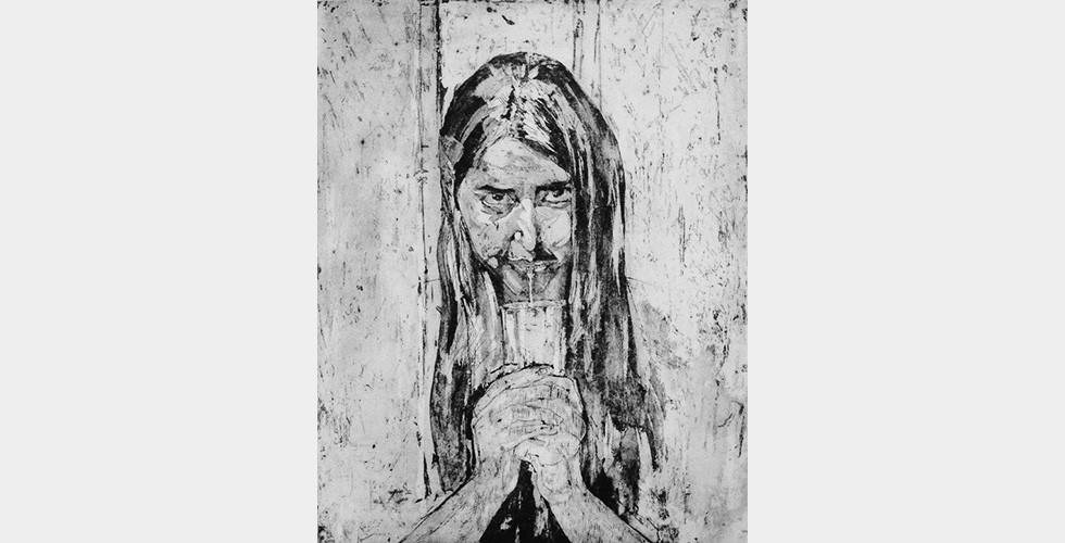"""""""Selbst-Kannibalismus"""", aus der Reihe """"Hübsche Esserinnen"""", 20 x 25 cm, Feb. 2015, Aquatintaradierung Für die nachrevolutionäre Generation im Iran manifestiert sich das Selbstporträt oft in der Aufnahme eines Selbstzerstörungsprozesses, der als Symptom eines kulturellen Traumas scheint. Das Thema Selbst-Kannibalismus von Jafarpours Aquatintaradierungen kann auch in ihren """"Esstischen"""" eindeutig erkannt werden."""