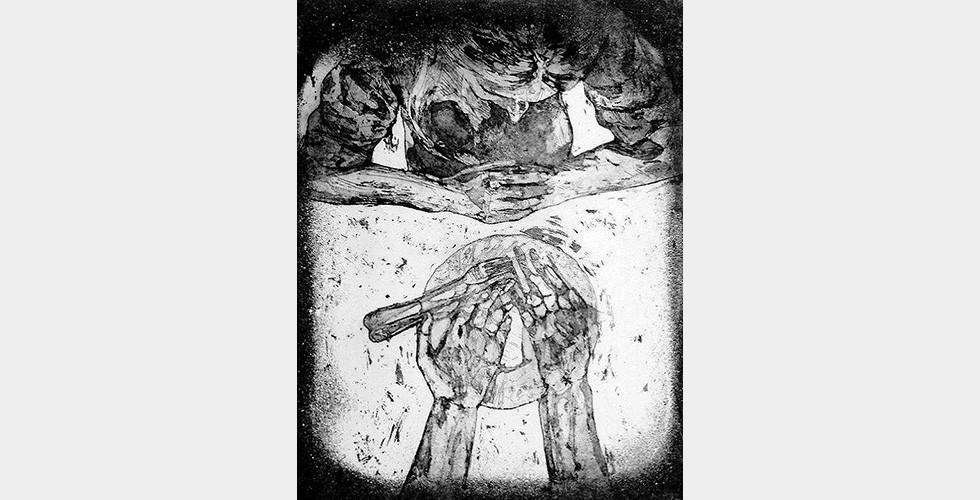 """""""Beginn Mama zuerst mit meinen Händen!"""", aus der Reihe """"Hübsche Esserinnen"""", 20 x 25 cm, Feb. 2015, Aquatintaradierung In diesem Bild, in dem die Künstlerin sich für eine """"verantwortliche"""" Geliebte nicht als """"victim"""" (im Sinne von Opfer einer Gewalttat), sondern als """"sacrifice"""" (etwas, was man opfert) darstellt, will sie mit ihrer Darstellung ein besonderes Gefühl hervorrufen: Scham. Diese Strategie ist auch in vielen anderen zeitgenössischen iranischen Kunstwerken zu erkennen."""