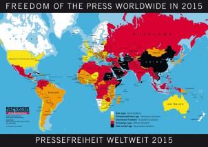"""Auf der """"Landkarte der Pressefreiheit"""" von Reporter ohne Grenzen trägt der Iran schwarz!"""