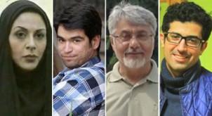 Verhaftete Journalisten: (v. l.) Afarin Chitsaz, Ehsan Mazandarani, Isa Saharkhiz und Saman Sarafzai