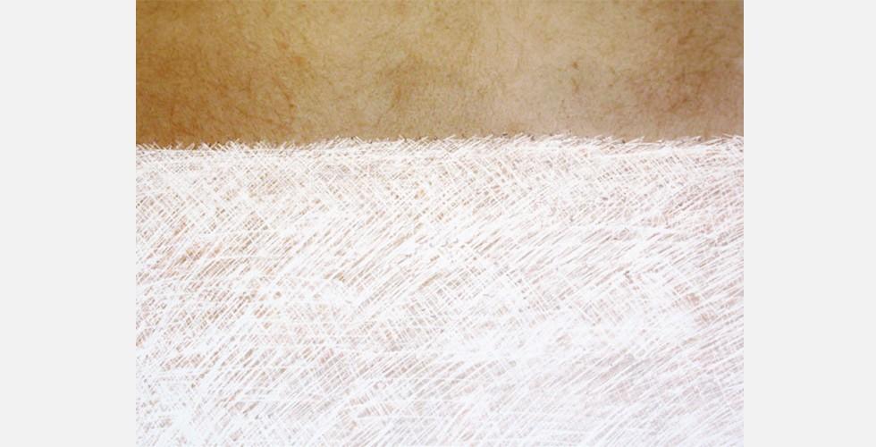 """""""Das Papier und die Haut"""", 2008, zerkratzter C-Print, 30x45"""