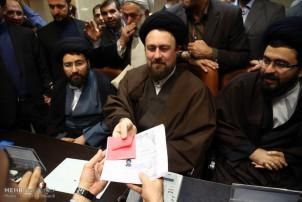 Seyyed Hassan Khomeini bei der Registrierung als Kandidat für die Expertenratswahlen im Februar 2016