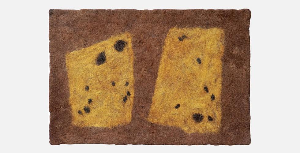 """""""Inschrift Nr. 2"""", Filz, 120x82cm, 1996-98 Wie bei der historischen iranischen Kunst scheint das Vokabular der Sprache, die Behrouz Daresh entwickelt, reich genug für eine unendliche Reihe von Kompositionen. Das ist ein Potenzial, das in seinem Werk niemals ausgeschöpft wurde."""