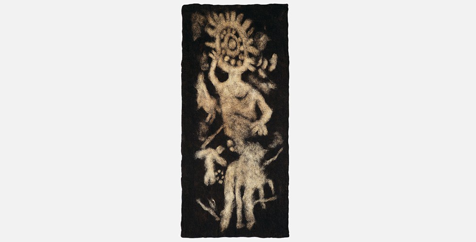 """Ra (der Sonnengott)"", Filz, 210x96cm, 1996-98 Text: SARANG BAHRAMI (bahrami@iranjournal.org)"