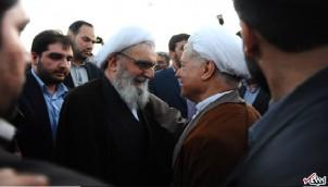 Hashemi Rafsanji (re.9 durfte bei der Trauerfeier seines Freundes Vaez Tabassi (li.) nicht dabei sein