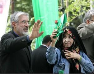 Der Oppositionspolitiker Mir Hossein Moussawi mit seiner Frau Zahra Rahnavard