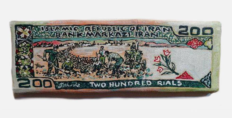"""Aus der Reihe """"Banknoten"""", Wandfarbe auf Leinwand auf handgefertigtem Keilrahmen, 13×35cm, 2012 Wenn Geld gemalt wird, verwandelt es sich in eine handelbare Ware, deren Wert nicht vorgegeben ist. Durch Nachahmung der anspruchsvollen Muster von Banknoten mit einem ungeeigneten Medium karikiert Ghanbari diese, ohne Verantwortung dafür zu übernehmen."""