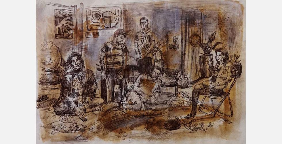 """""""Ohne Titel"""", Kugelschreiber und Tinte auf Papier, 28×39cm, 2015 Seine Zeichnungen zeigen Figuren in ihrem sozialen Kontext und sind von einer narrativen Qualität geprägt."""