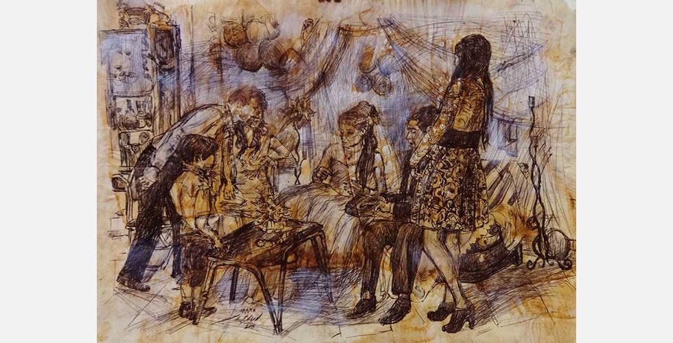 """""""Ohne Titel"""", Kugelschreiber und Tinte auf Papier, 29×40cm, 2015"""