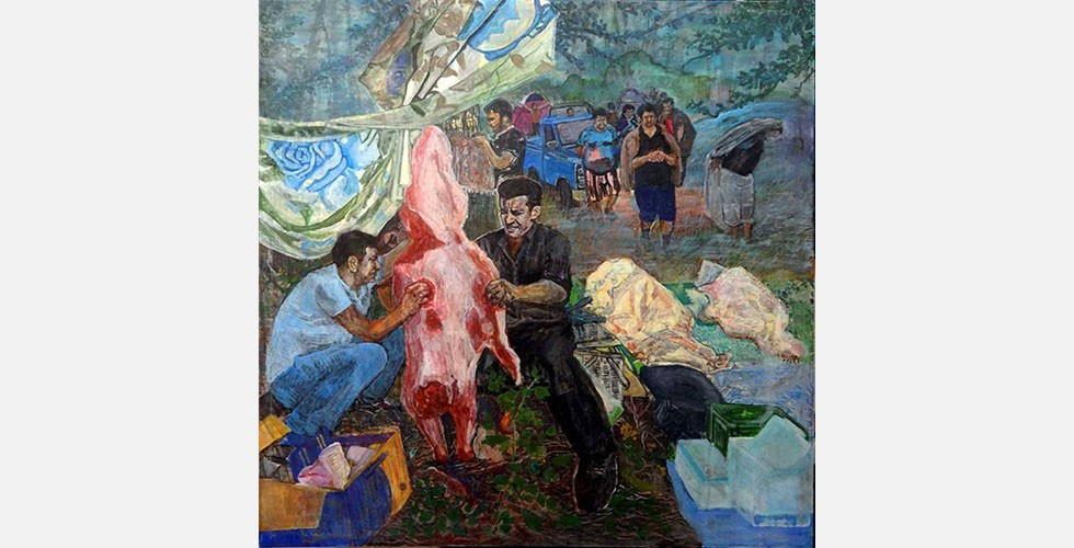 """""""Ohne Titel"""", Acryl auf Leinwand, 100×100cm, 2015 Der Künstler kommt aus einem Dorf neben Neka, einer Stadt im Norden des Iran. Er lebt und arbeitet dort und stellt auch das ländliche Leben dar."""