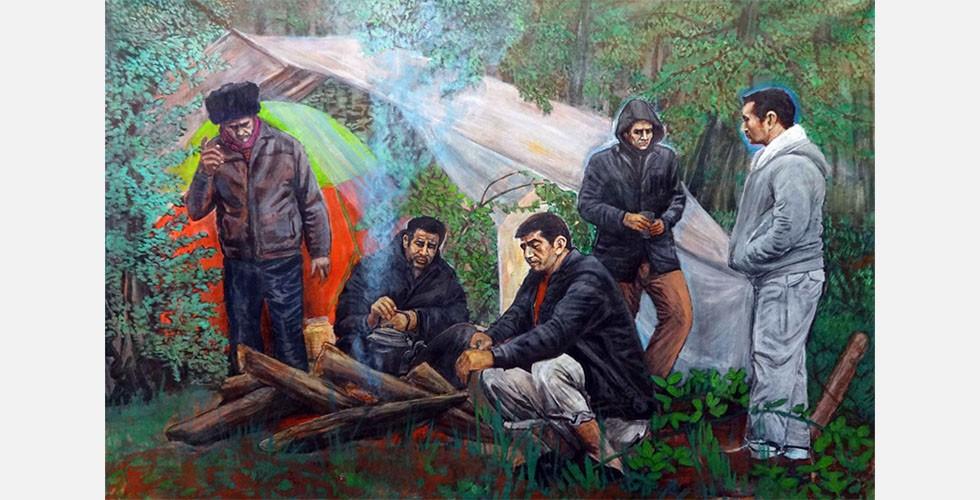 """""""Ohne Titel"""", Acryl auf Leinwand, 155×110cm, 2016 Die Arbeit Ismail Ghanbaris zeichnet sich durch einen persönlichen Stil unähnlich denen anderer Künstler seiner Generation aus. Ihre formale Qualität ist eher ein Ergebnis seines persönlichen Blicks auf die Welt als seiner Kunstausbildung."""