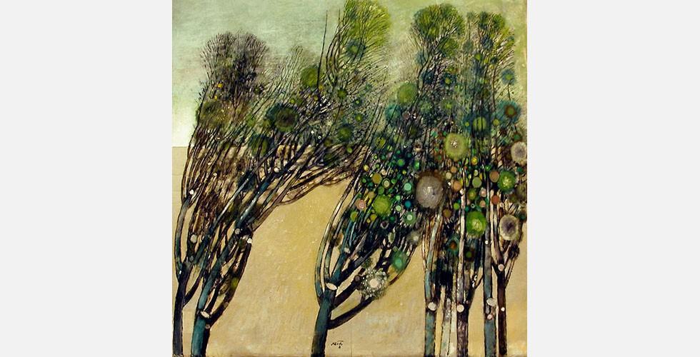 """""""Ohne Titel"""", Öl auf Leinwand Saidis Arbeit ist von persischer Kunst inspiriert: Merkmale sind das Fehlen der Perspektive, das Gefühl von Geheimnis, die """"Flachheit"""" des Werks, und die iranische Sonne, die die Farben in den Vordergrund stellt."""