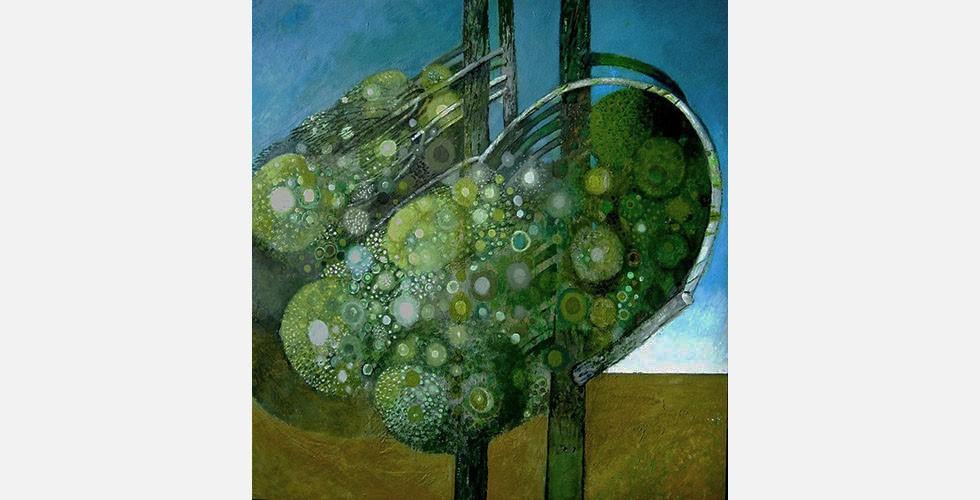 """""""Ohne Titel"""", Öl auf Leinwand, 158.5 x 150 cm, 1995 Die dargestellten Bäume stehen meistens hinter einer Mauer und erinnern dadurch an persische Gärten."""