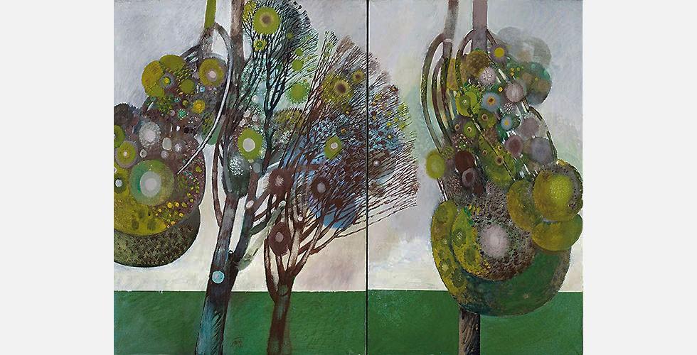 """""""September"""", (Diptychon) Öl auf Leinwand, 162 x 212 cm, 1989-1990 Obwohl Saidis Bilder rein dekorativ erscheinen können, sind sie tatsächlich sehr persönlich und ausdrucksfähig. Jedes stellt einen bestimmten Moment im Leben des Künstlers dar. Man könnte das als eine Art von Impressionismus betrachten, der sich mit der Darstellung einer inneren Welt beschäftigt."""