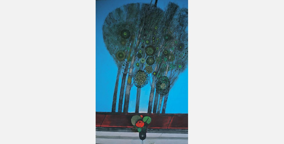 """""""Die Morgendämmerung"""", Öl auf Leinwand, 146 x 97 cm Saidi benutzt in seinen Arbeiten Elemente, deren Ursprünge sich in der Vergangenheit verlieren. Dies verleiht den Werken eine mythologische Ausstrahlung."""