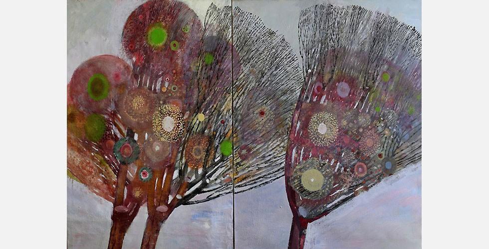 """""""Roxan"""", (Diptychon) Öl auf Leinwand, 187 x 134 cm Saidi war Gründungsmitglied des Künstlerkollektivs Group 5 (etabliert 1968). Es umfasste fünf Mitglieder, die heute alle zu den international bekanntesten iranischen Künstlern gehören: Hossein Zenderoudi, Parviz Tanavoli, Abolghassem Saidi, Sohrab Sepehri und Bahman Mohassess. Diese Künstler hatten sehr unterschiedliche Ansätze und persönliche Stile. Daher haben sie unterschiedliche Antworten auf die gleichen Probleme gefunden. Eines der Hauptprobleme besteht darin, wie man lokale Kunst mit globaler verbinden kann."""