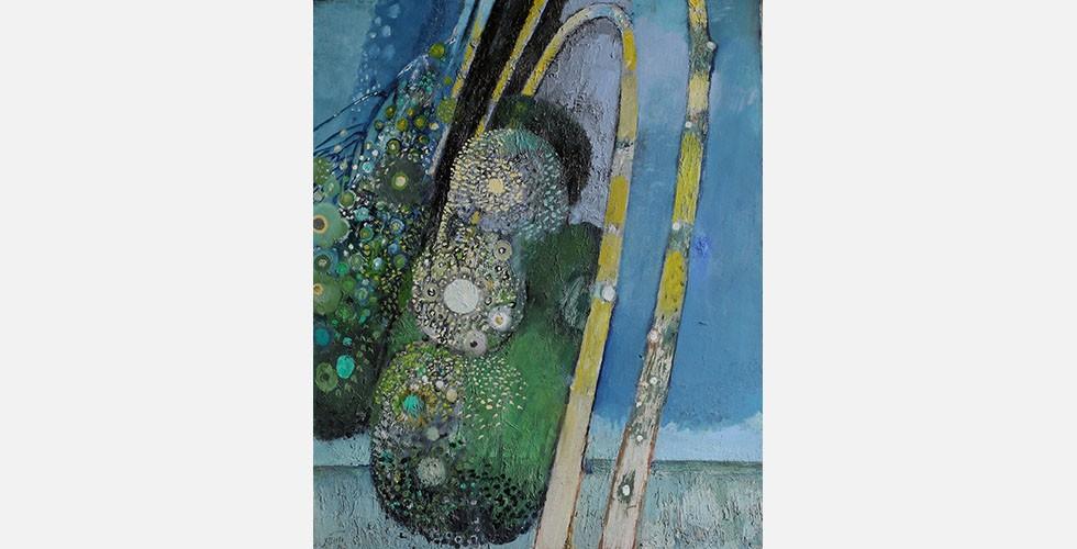 """""""Die blaue Stunde"""", Gouache auf Leinwand, 81 x 100 cm Während Sepehri sich für die Kunst des Fernen Ostens interessierte, entdeckte Mohassess die griechische Mythologie und die Kunst der Renaissance als Inspirationsquellen für seine Kunst. Zenderoudi und Tanavoli richteten ihre Aufmerksamkeit auf einheimische Künste. Saidis Werke hingegen spiegeln keine einheimischen Motive, erreichen aber Lokalkolorit durch sehr unterschiedliche Maßnahmen. Sie verweisen auf keine spezifischen Zeiten oder Orte."""