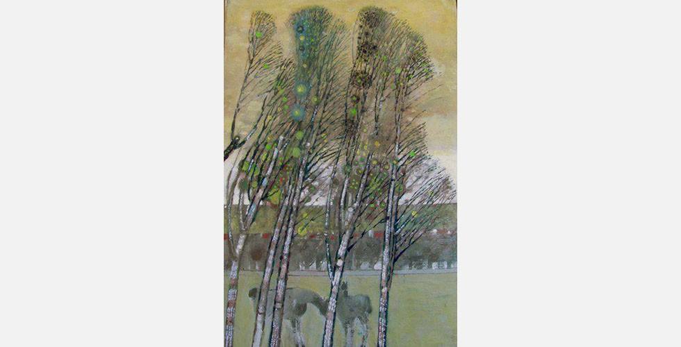 """""""Ohne Titel"""", Öl auf Leinwand Der iranische Kunstkritiker Aidin Aghdashloo hat Saidi """"den iranischsten aller modernen iranischen Künstler"""" genannt. Dies ist umso bemerkenswerter, wenn man bedenkt, dass Saidi seine Laufbahn im Ausland verbracht hat und sein Thema, die Landschaftsmalerei, nie ein Teil der persischen Kunst war."""