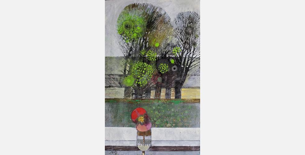 """""""Ohne Titel"""", Öl auf Leinwand, 90 x 56 cm  Saidi ist als Maler von Obst- und Baumgestalten bekannt. Seine Landschaftsbilder sind jedoch keine Fenster zur Außenwelt wie etwa die Renaissancemalerei. Sie blicken auf die Innenwelt."""