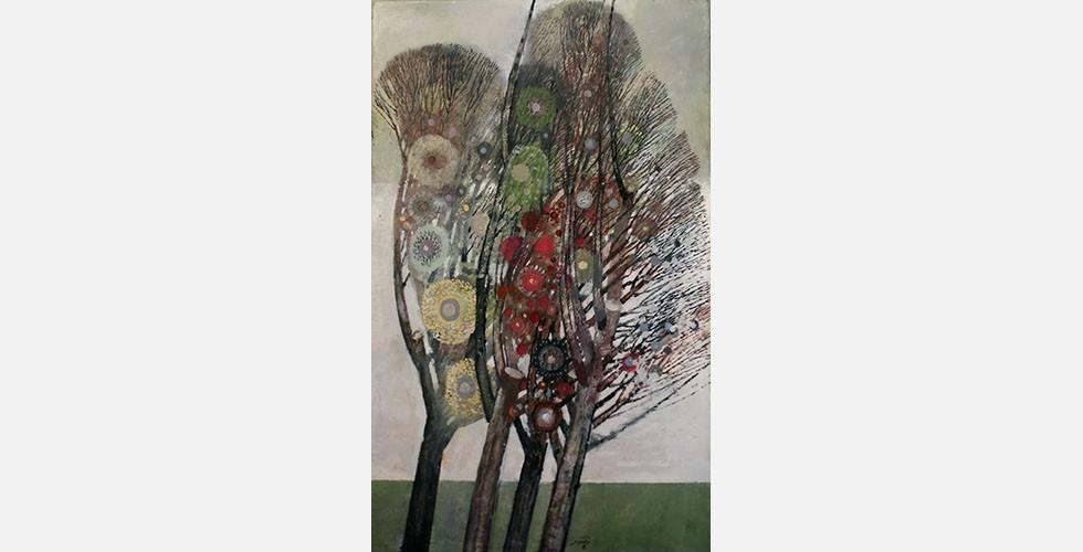"""""""Ohne Titel"""", Öl auf Leinwand, 146 x 90 cm Zwei andere moderne iranische Künstler befassen sich ausschließlich mit dem Thema Bäume: Davood Emdadian und Sohrab Sepehri. Interessanterweise haben es alle drei auf ihre eigene Weise geschafft, sich dieses fast ausgeschöpften Themas der Malerei mit einem einzigartigen Stil anzunehmen."""