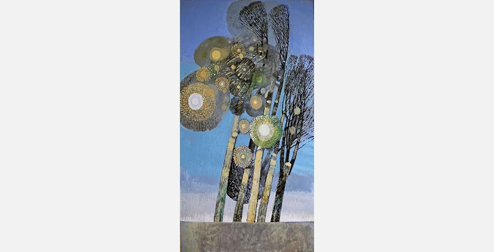 """""""Ohne Titel"""", Öl auf Leinwand, 92 x 172 cm Saidi sieht seine Arbeiten als visuelle Musikstücke. Jeder Bestandteil seiner Arbeit dient als eine Musiknote, die der Künstler mit dem Rest des Bildes in Einklang bringen will. Saidi ist selbst ein passionierter Musiker."""