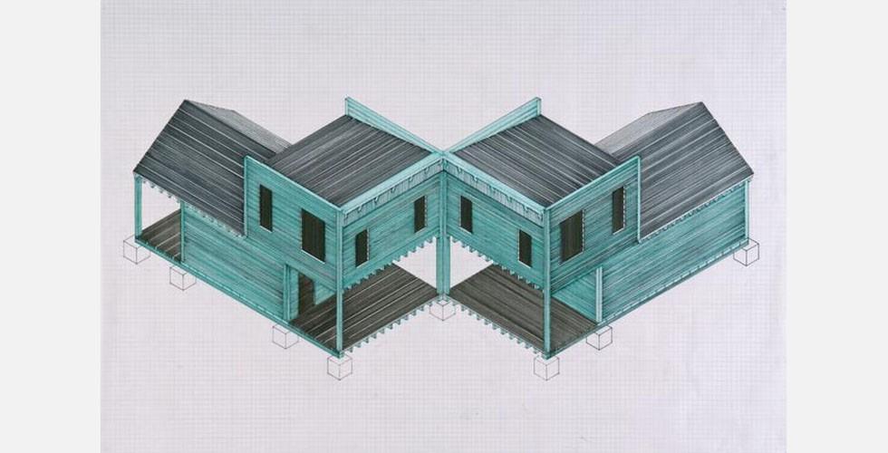 """""""Grabstätte für Heidegger"""", Filzstift auf Millimeterpapier, 61 x 91,4cm, 2012 Im Jahr 1972 war Armajani Teilnehmer der von Harald Szeemann organisierten Documenta 5 in Kassel. Er war auch auf der Documenta 7 (1982) und der Documenta 8 vertreten."""