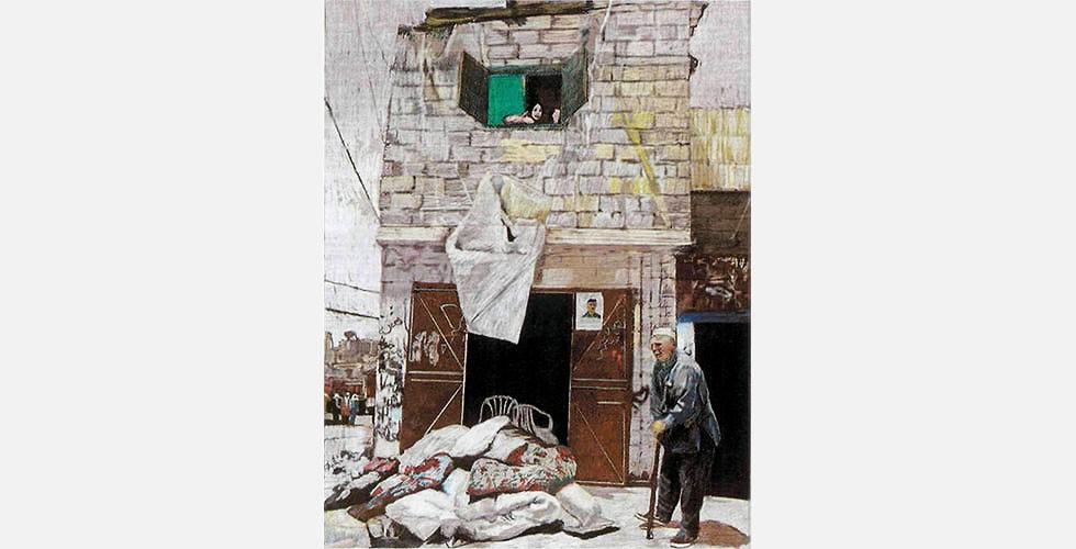 """""""Studie für Falludscha"""", mixed media auf gedrucktem Bild, 62 x 50cm, 2004 Im Rahmen der Offensive wurden laut US-Angaben etwa 1.200 Rebellen getötet. Laut der englischen Organisation Iraqi Body Count starben etwa 700 Zivilisten. Infolge der Kampfhandlungen wurden große Teile Falludschas zerstört und ein signifikanter Anteil der Bevölkerung kehrte nicht zurück. Im Herbst 2005 wurde durch britische und italienische Medienberichte bekannt, dass die US-Truppen in Falludscha weißen Phosphor und Mark-77-Bomben gegen Bunkeranlagen in der Stadt eingesetzt hatten. Text: SARANG BAHRAMI (bahrami@iranjournal.org)"""