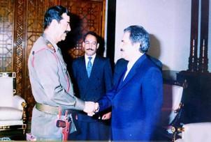 Masoud Rajavi beim irakischen Diktator Saddam Hussein