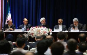 Präsident Rouhani beim Treffen mit einer Gruppe der in den USA lebenden IranerInnen in New York (September 2014)