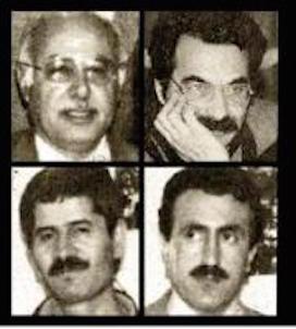 Die Opfer des Mykonos-Attentats: Sadegh Sharafkandi (li. oben), Nouri Dehkordi, Homayoun Ardalan (li. unten)، Fattah Abdoli