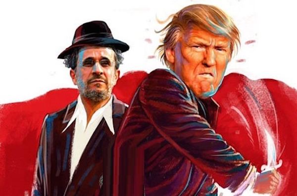 Der Hardliner Mahmoud Ahmadinedschad hinter Trump - Foto: bartarinha.ir