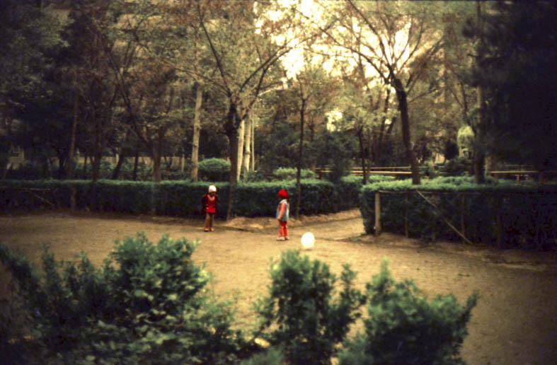 From ekbatan series, 2015,16 x 21 cm, Slide film 135mm Überhaupt spielt die Natur eine große Rolle in den Ekbatan-Fotos. Nicht die Natur als solche, es ist die angelegte Natur, die durch Wege und Steinplätze unterbrochenen Bepflanzungen, Grasflächen, die gestutzten Hecken, die gezielt gesetzten Bäume und Baumgruppen, bestehend aus den unterschiedlichsten Baumarten. Zu allen Tages- und Jahreszeiten hat Mirzai Ekbatan fotografiert, aus den unterschiedlichsten Perspektiven, aber immer aus dem Moment heraus. Ekbatan schreibt sich in diesen Fotgrafien nicht wie ein inszeniertes Ganzes zusammen. Auch sind die Bilder nicht nachbearbeitet, der Moment, das Notizhafte ist ihnen belassen.
