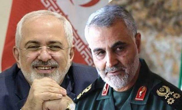 Der offizielle Außenminister Mohammad Javad Zarif (li.) und der mächstige Mann des Iran in der Nahostregion General Ghasem Soleymani