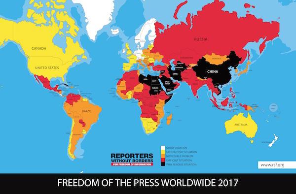 Weltkarte der Pressefreiheit in 2017 von Reporter Ohne Grenzen