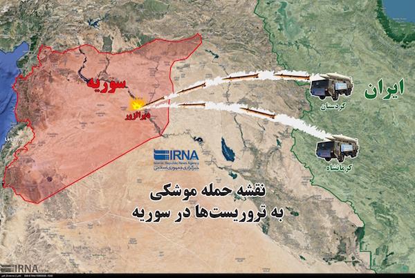 Von zwei Stützpunkten aus hat der Iran (grün) IS-Stellungen in Deri-az-Zor, Syrien (rot), angegriffen