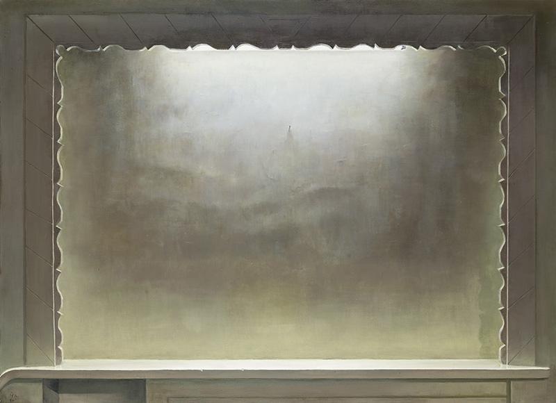 """""""Mary"""", Oil on canvas, 145 x 200 cm, 2014 Die Dinge befinden sich in einem Raum, an einer Wand, meist frontal betrachtet und auf sich selbst gestellt, wie auch der umgebende Raum auf sich selbst gestellt ist. In 'Mary' (2014) ist es nurmehr die Wand, in der sich eine Nische befindet. Afsarian malt die Nische. Sie wirkt wie eine Theaterbühne, sie ist leer, nicht tief, die Wand ist hell, weiß, mit einem leichten Einschlag von Gelb. In der Mitte der Nische, die in sich von oben beleuchtet ist - an ihrer oberen Kante lässt sich angerissen eine Neonröhre erkennen -, ist ein Nagel eingeschlagen. 'Mary' ist Maria, die Jungfrau. Die Wand ist die unbefleckte Wand - sie deutet eine Potenzialität an. Ist es ein Bild, das hier fehlt? Das noch kommt? Ist es wirklich der Ort für ein Bild? Oder ist das eine Leere, die von diesem Nagel nur mehr betont wird? Die Idee dieser Nische, dieser Leere ist es, was auf dem Bild zu sehen ist. Die Frage nach dem Bild, nach seiner Möglichkeit, wird in einer ewigen Unmöglichkeit erzählt - das Bild verweigert sich dem Bild. Und doch stellt das Bild die Frage nach der Möglichkeit des Bildes."""