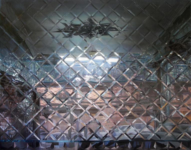 """""""Car Showroom, Mirror Hall"""", Oil on canvas, 150 x 190 cm, 2010 Das Bild wird bei Afsarian zu einem Träger von Gesehenem. Das Sujet, meist Interieurs oder Ausschnitte aus Interieurs, Details, einzelne Gegenstände, oft isoliert, auf sich selbst gestellte Einrichtungsgegenstände, unterliegt bei ihm einer spröden Sachlichkeit - keine Sensation, nichts Spektakuläres."""