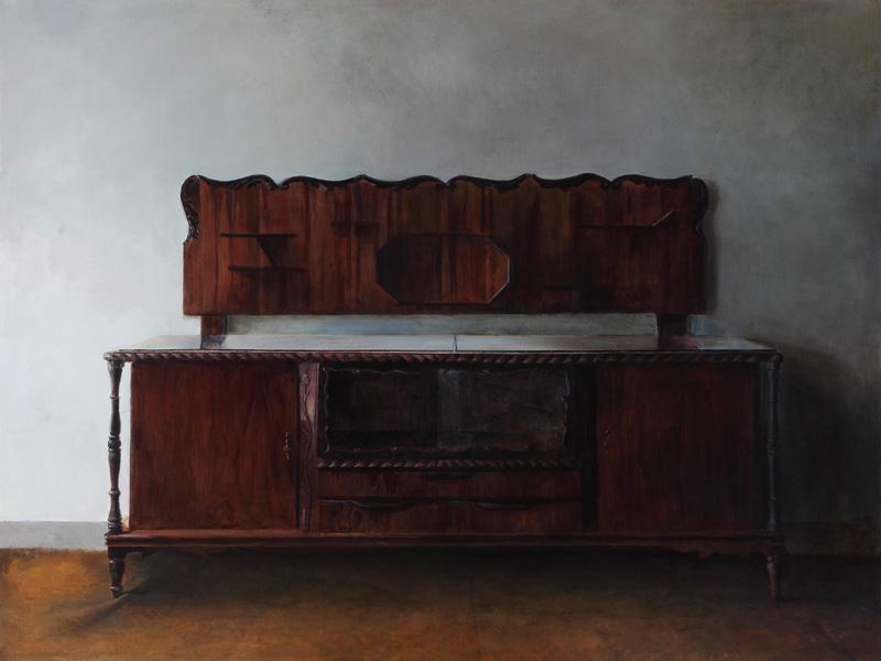 """""""The Soul of Javid's Father"""", Oil on canvas, 130 x 154 cm, 2013 Iman Afsarian erforscht damit einen Bereich, der nicht über sich hinausgehen will, er verweigert jede Form von Transzendenz. Aber befindet sich an den Randgebieten, an den Grenzen, und der Nagel in der Mitte der Nische erscheint da sowohl als eine Verunreinigung eines Reservoirs wie auch als eine Art Bereinigung im Sinne einer nicht eingelösten Idee."""