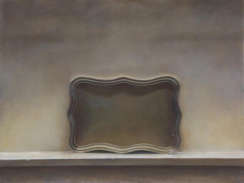 Oil on canvas, 90 x 110 cm, 2012 Für Afsarian setzt die Auseinandersetzung mit der Malerei immer wieder bei Kamal Al Molk ein. Vielleicht ist das eine Wende in der Kunst im Iran, die Wende, durch die eine spezifische Funktion der Kunst sich artikuliert hat - im Bild, in der Repräsentation. Auch die Wand erhält eine neue Funktion, wie der Raum. Nicht, dass dort keine Bilder zu finden gewesen wären. Es werden Bilder an die Wand gehängt mit realistischen Motiven, die dort erscheinen können - und wieder verschwinden. Das Bild wird zum Gegenstand. Afsarian beginnt mit diesem Gegenstand zu spielen, ihn zu reflektieren. Insofern biegt sich seine Auseinandersetzung ein in die Tradition, in eine Auseinandersetzung mit der iranischen Geschichte der Kunst, an einer Stelle, an der Afsarians Bilder zu einer spezifischen Ausformung dieser wird. Sein Werk bildet eine Art Konglomerat, um das herum sich diese Geschichte gruppiert, in seine Arbeiten eingehen, daraus hervorgehen kann.