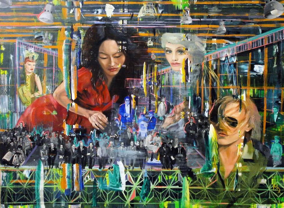 All About Us, 160cm x 200cm, oil on canvas, 2014 Die montagehaften Einschreibungen der dargestellten Dinge ins Bild gehen Beziehungen ein, sie verdecken sich, überlagern sich, in ihren Berührungen erst kommen sie zu sich, transformieren, gehen ein Spiel ein, für sich, miteinander, gelegentlich lösen sie sich auf, nichts beharrt in einem erratischen Für-Sich-Sein.