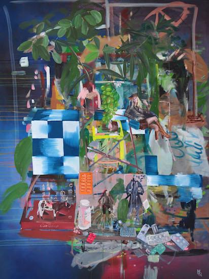 Just Like We Are, 120cm x 90cm, oil on canvas, 2015 Es gibt eine Reihe von Bildern von Myriam Quiel, bei denen wir uns als Betrachter einem Publikum gegenüber befinden. Der Betrachter blickt auf das Publikum wie von einer Bühne aus, von der wir nicht wirklich wissen, was auf ihr geschieht. Dieses Publikum hat etwas Festliches, es strahlt eine Erwartung aus, der Betrachter steht auf der Bühne, wie die Malerin auf der Bühne steht, und die Frage erhebt sich, was jetzt passieren wird.