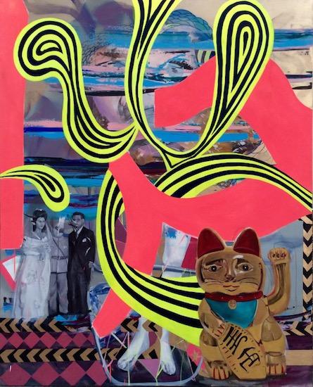 It Will Never Be The Same, 200cm x 160cm, oil on canvas 2014 In ihren Bilder, vor allem Ölbilder - daneben Arbeiten auf Papier und Skulpturen - hat sie Narrative entwickelt, die sich über viele Erfahrungsfelder verteilen, die nicht von der Dominanz einer einzigen Kultur geprägt sind, und die ihre Kunst in einen Bereich rücken, der sich dem Repräsentativen entzieht.