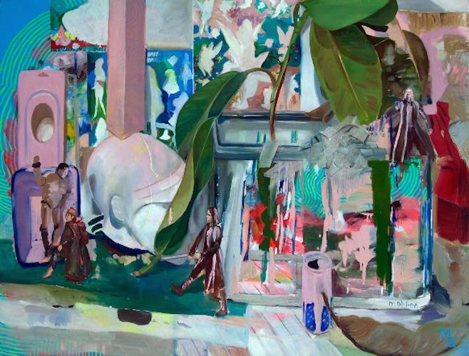 Oasis, 90cm x 120cm, oil on canvas, 2015 Die kurzen Augenblicke des Glücks mögen an Wünsche gebunden sein, an den Abgleich mit Wünschen, an eine Koinzidenz von Vorstellungen mit einer spezifischen Konstellation der Wirklichkeit. Beginnt man diese Vorstellungen, Wünsche, Bilder, Traumbilder zu sammeln, zusammenzutragen, anzuhäufen, selbst und gerade dort, wo diese sich aus einem individuellen Kosmos ergeben, zeigt sich eine Ahnung, dass es auch das Gegenteil sein kann, dass Wünsche einen Sog von Verfehlungen erzeugen können, dass das Glück auch das Unglück sein kann. Irgendwo zwischen Wagnis und Trauer ließe sich das Quielsche Experiment ansiedeln.