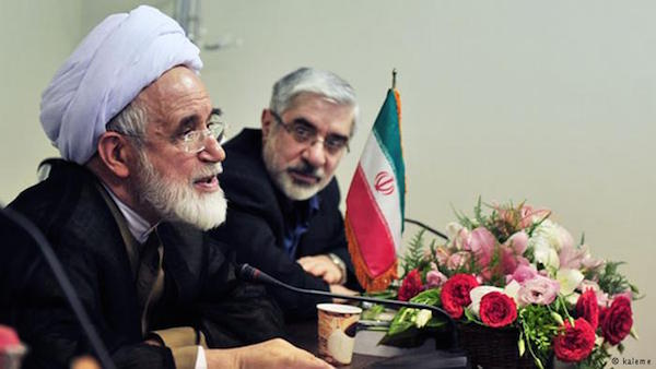 Karrubi (li.) und Mir Hosein Moussavi , unter dem Hausarrest stehenden Integrationsfiguren der Grünen Bewegung