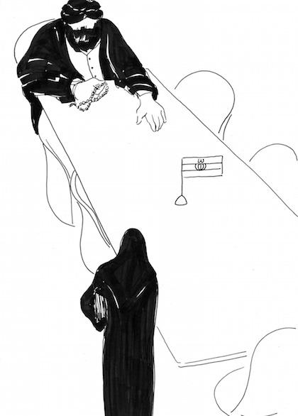 """Begegnung mit dem Richter - Filzstiftzeichnung von Parastou Forouhar, aus der Reihe: """"Schuhe Ausziehen"""""""